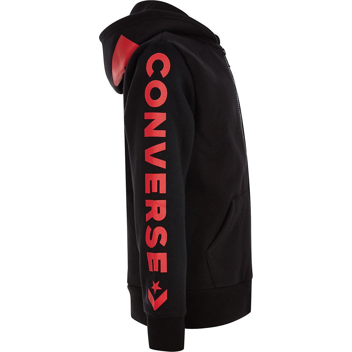 Converse – Sweat à capuche de survêtement noir zippé pour garçon