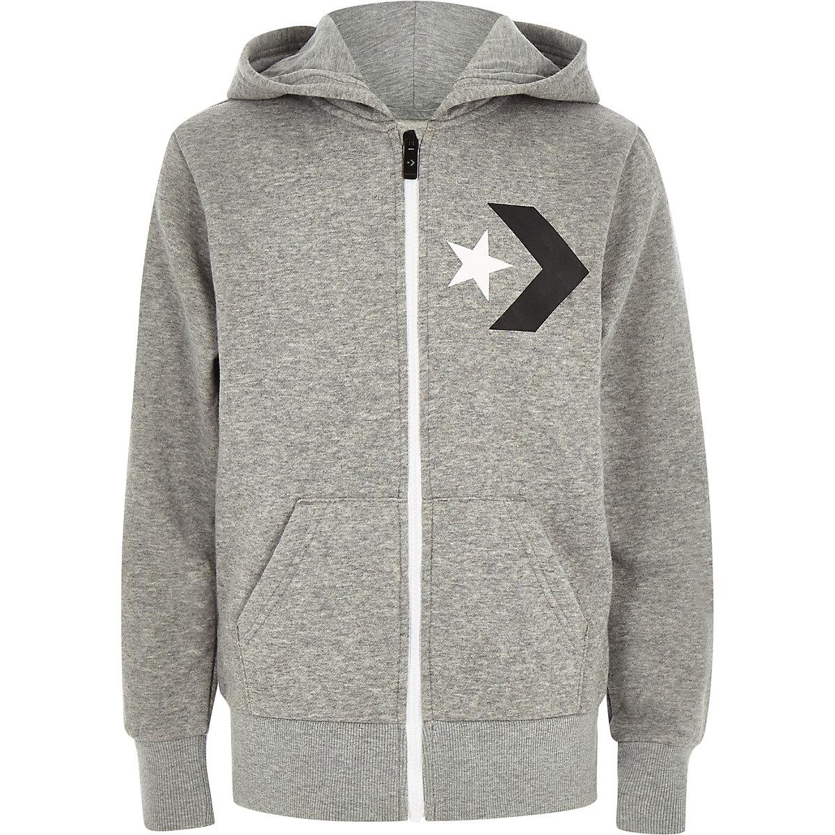 Boys Converse grey zip up tracksuit hoodie