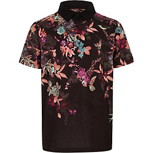 Boys black floral print polo shirt