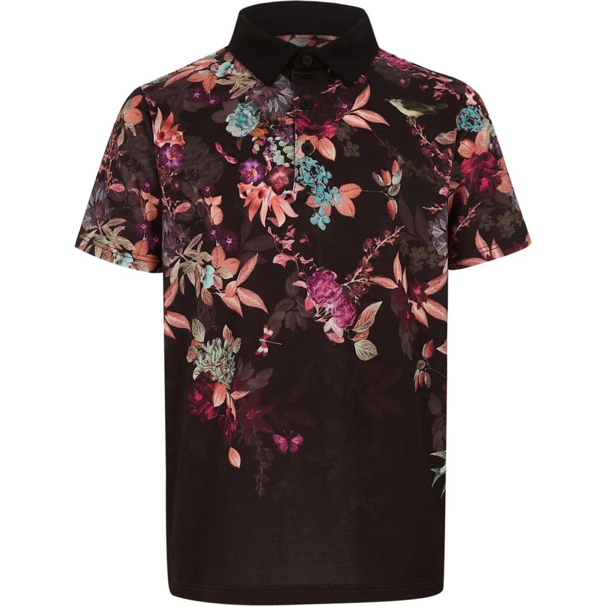 Boys black floral print polo shirt