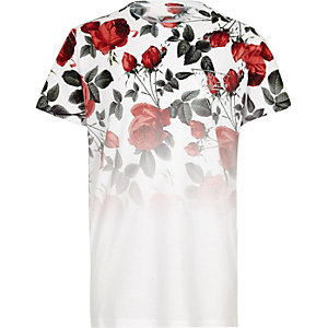 Boys white floral fade short sleeve T-shirt