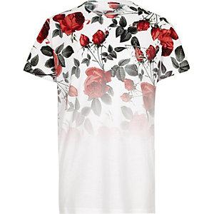 Wit T-shirt met bloemenprint, kleurverloop en korte mouwen voor jongens