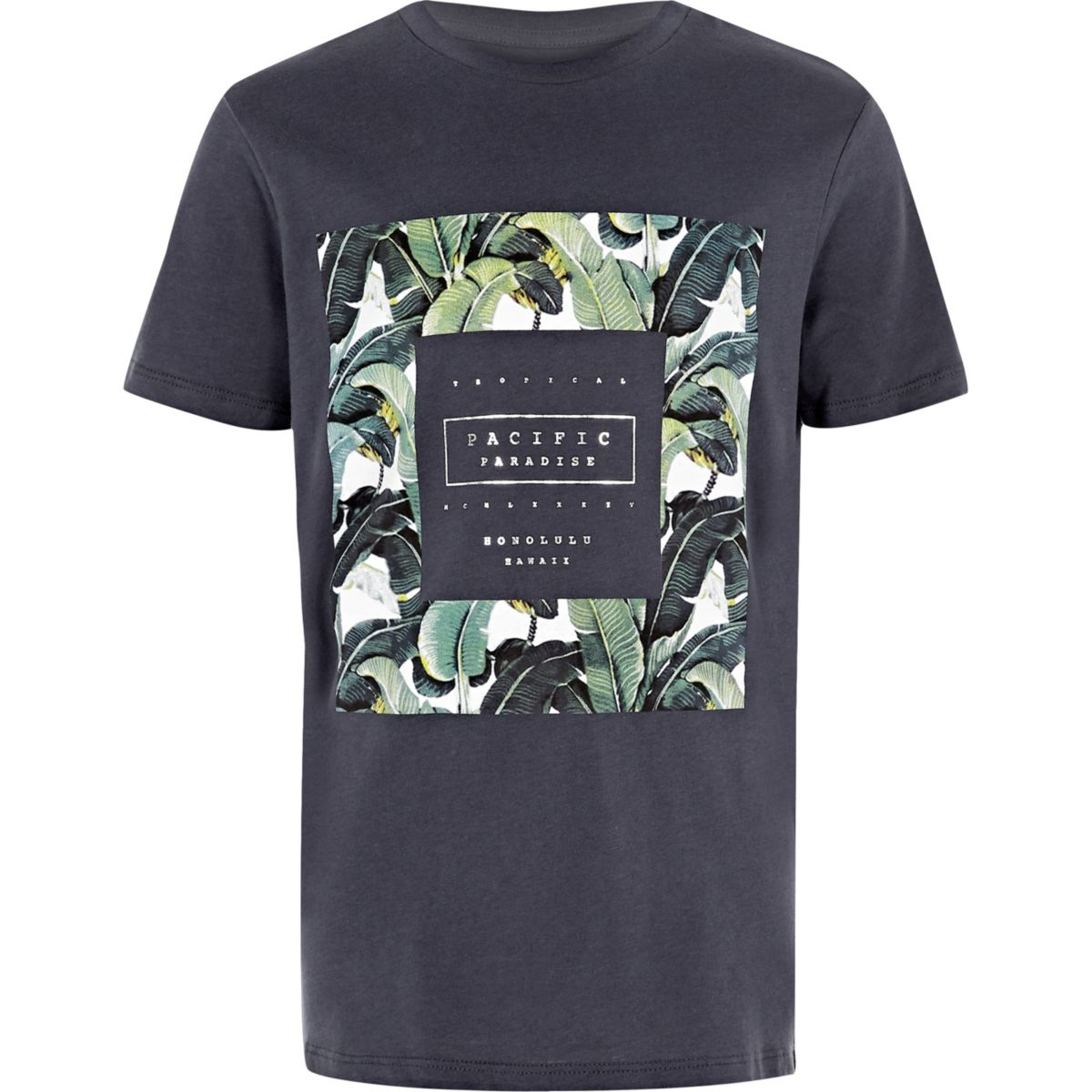 Boys navy palm tree box print T-shirt