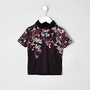 Mini boys black oriental print polo shirt