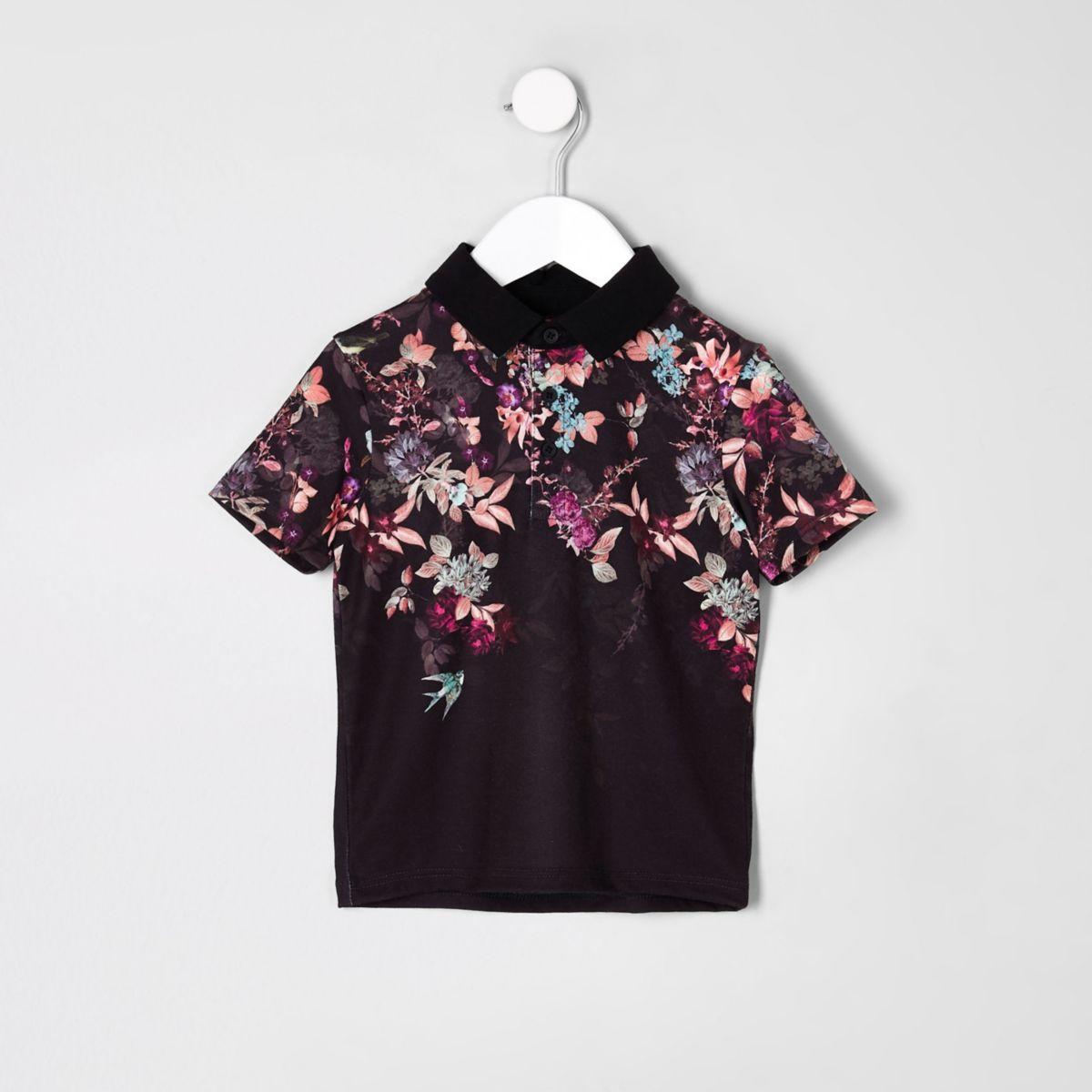 Mini - Zwart poloshirt met oriëntaalse print voor jongens