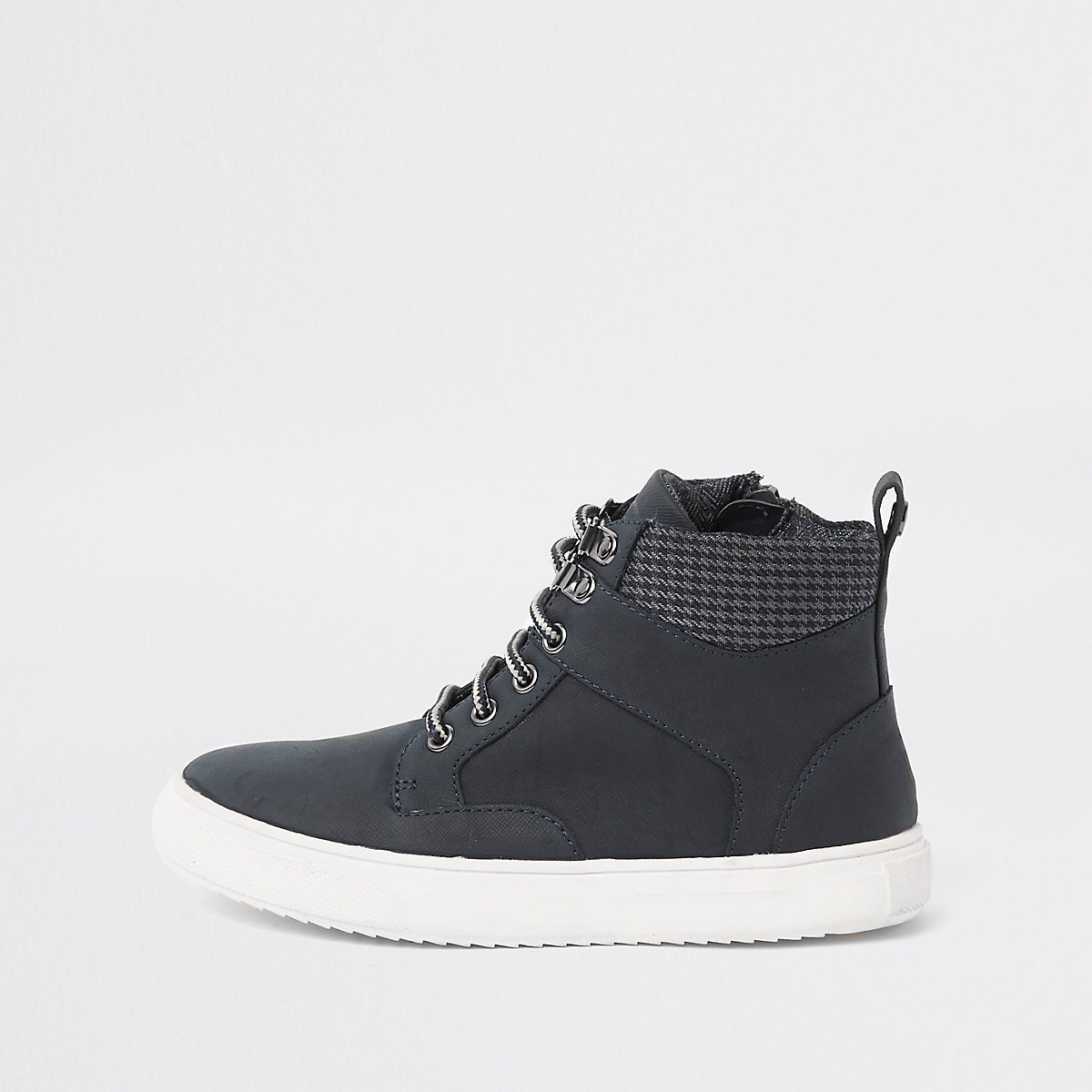 Boys navy lace-up ankle boots