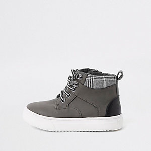 Mini boys grey lace-up boots