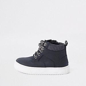 Marineblauwe hoge schoenen met veters voor mini boys