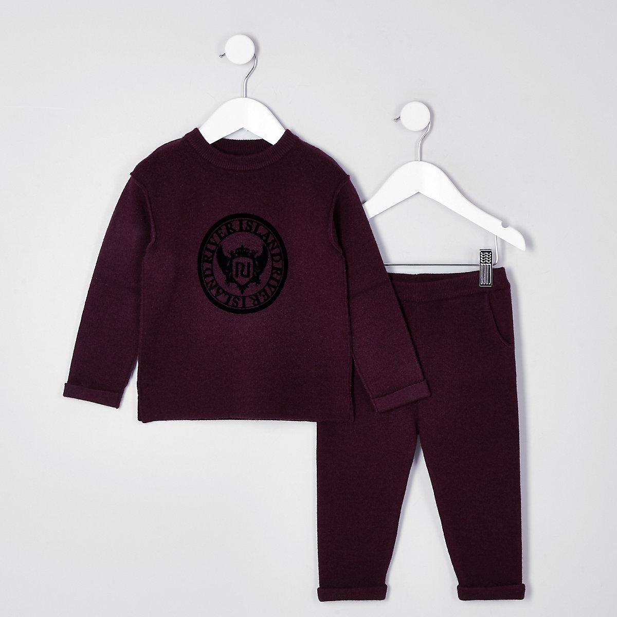 Mini boys burgundy knit RI sweat set