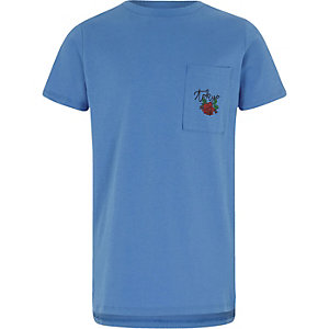 Blauw T-shirt met rozen- en Tokyo-print voor jongens