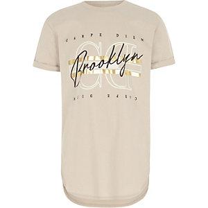 Kiezelkleurig T-shirt met 'Carpe diem'-print voor jongens