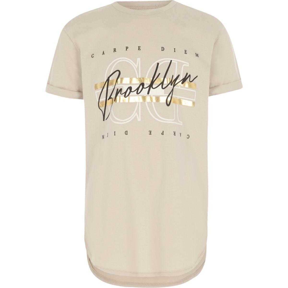 Boys stone 'carpe diem' print T-shirt