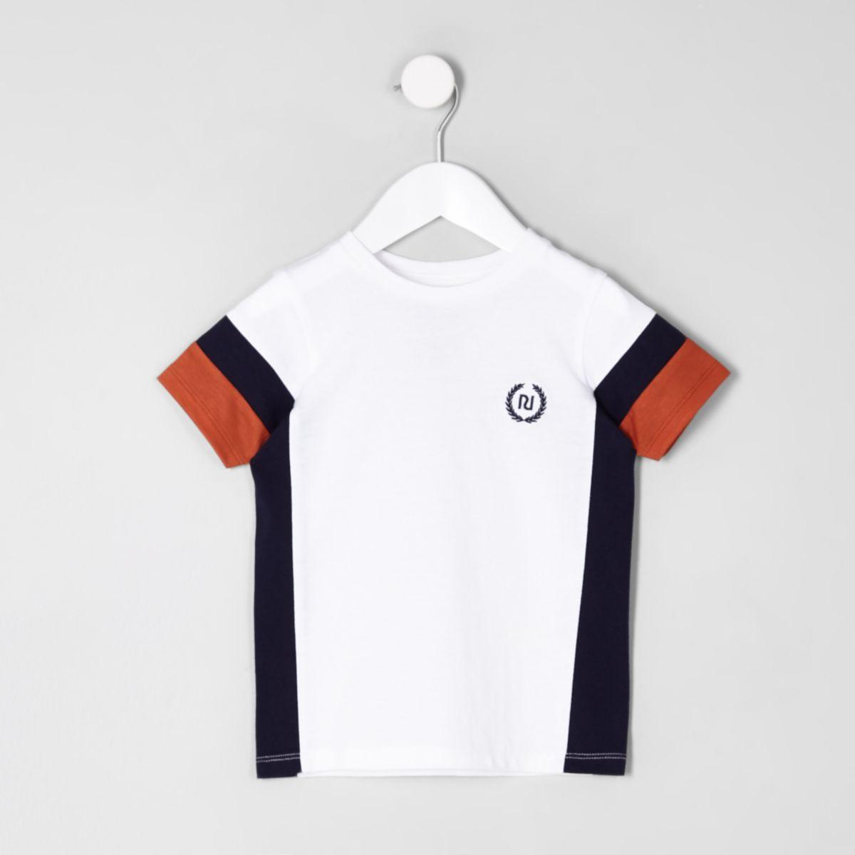 Mini boys white color block RI T-shirt