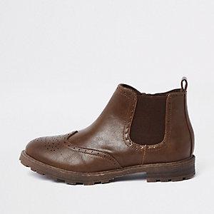 Bruine brogue chelsea boots voor jongens