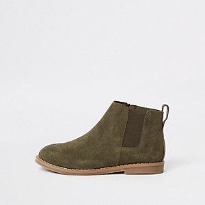 Boys khaki suede chelsea boots