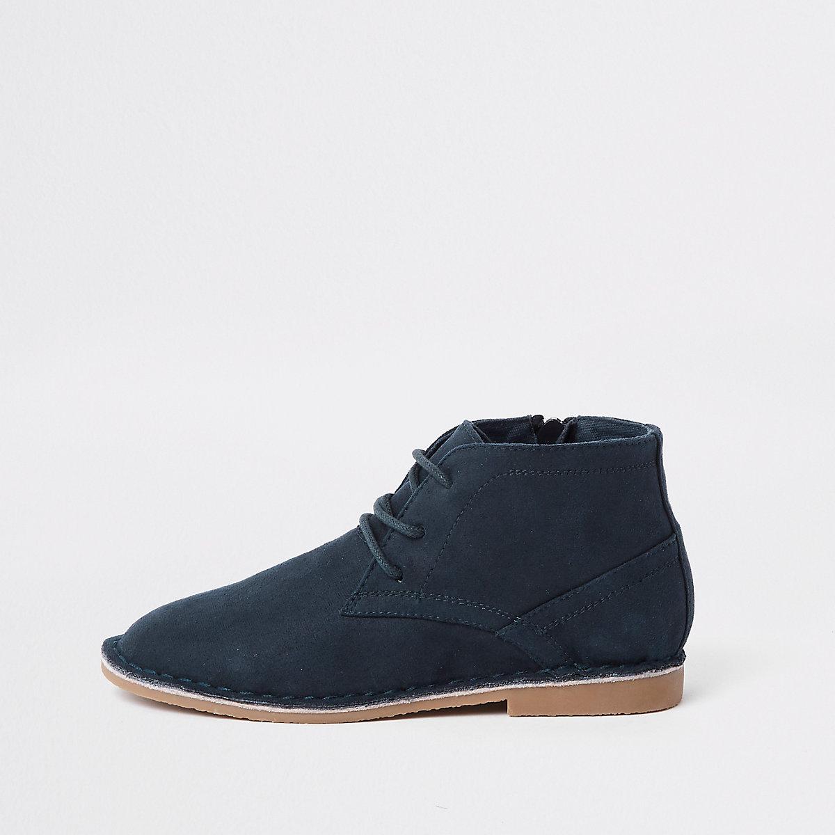 Boys navy faux suede desert boots