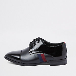 Boys black patent tape side shoes
