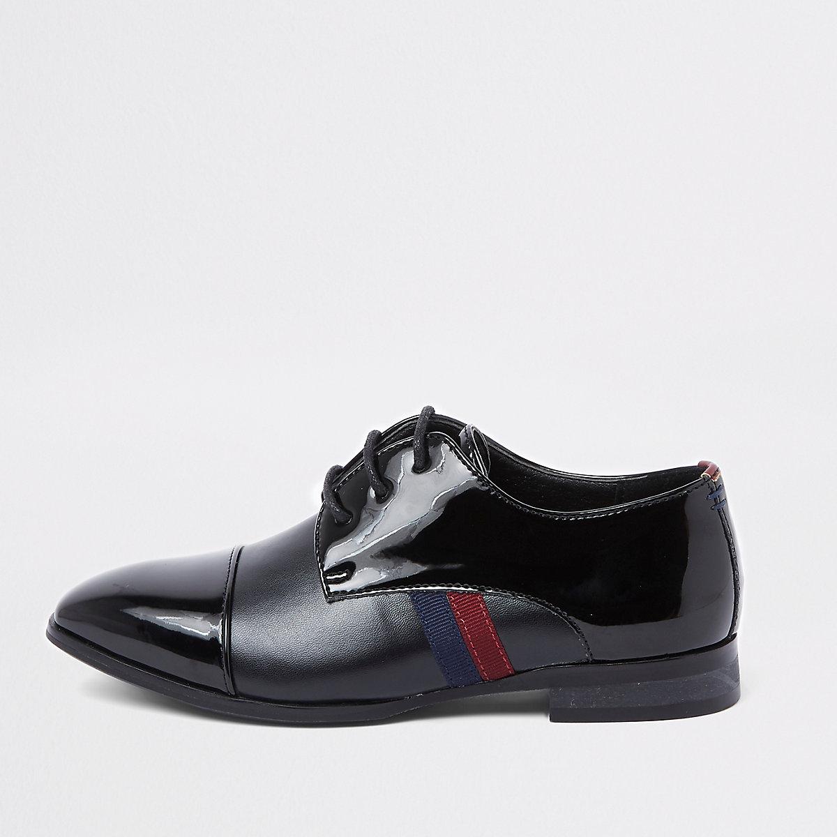 Boys black patent tape side shoes
