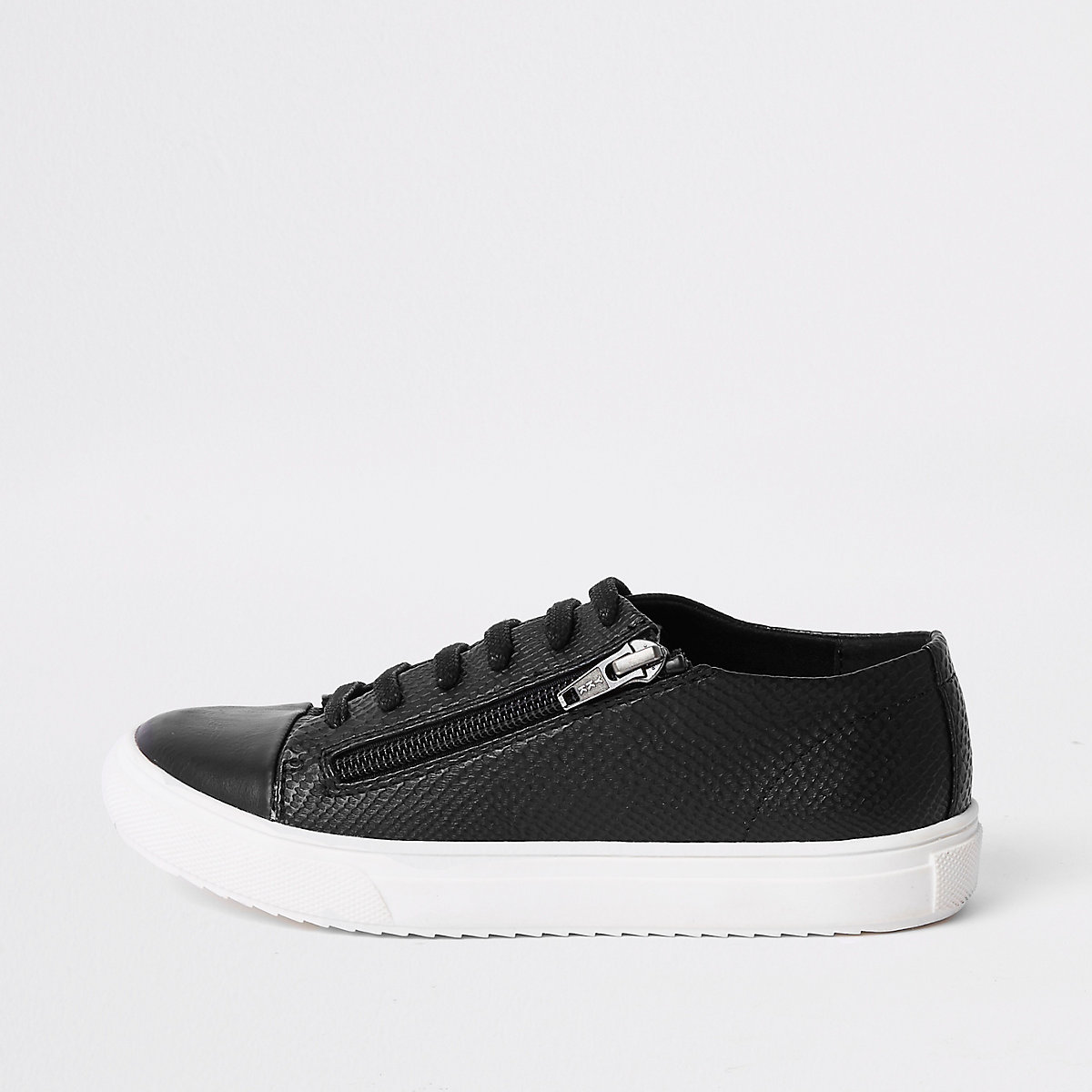 Boys black zip side lace-up trainers