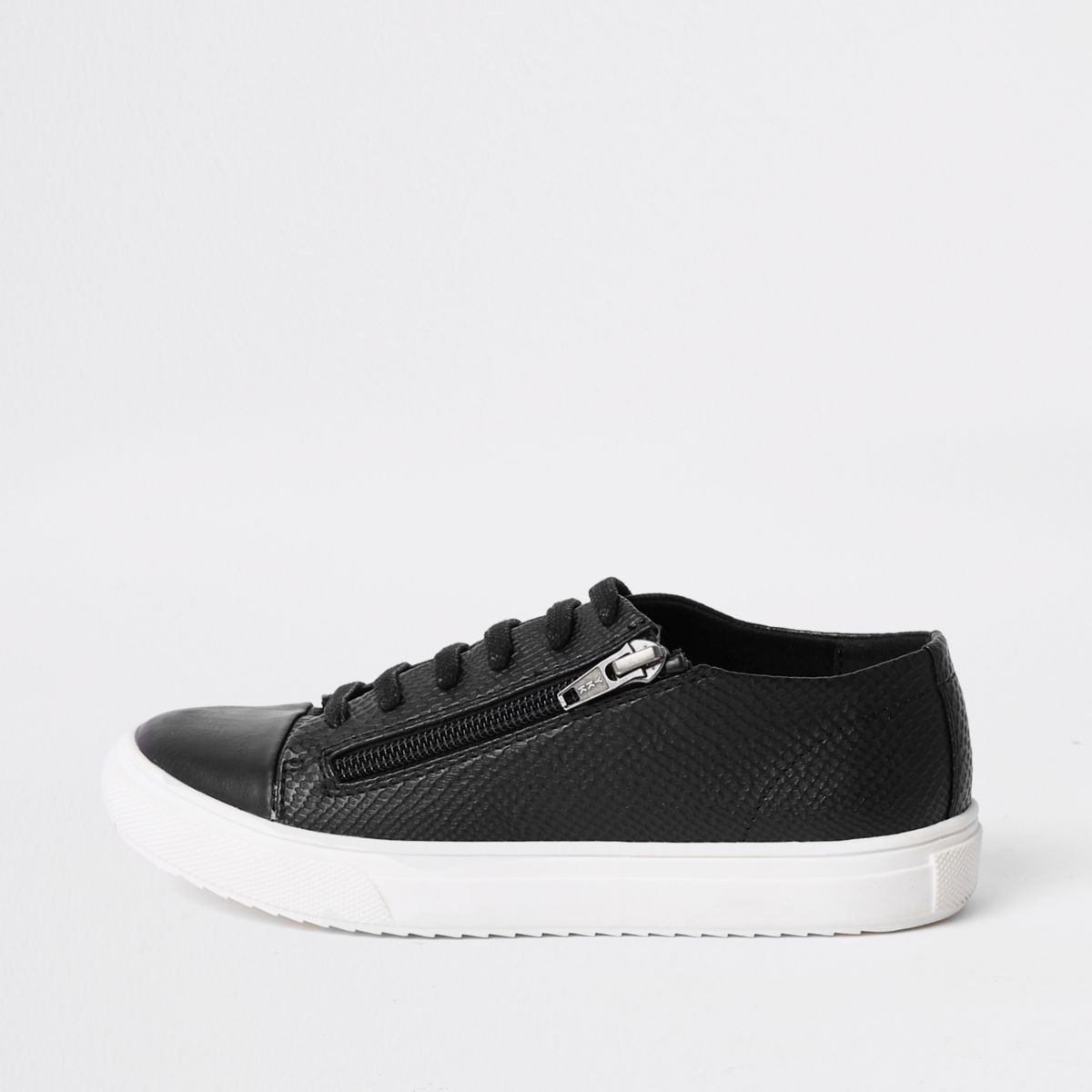 Boys black zip side lace-up sneakers