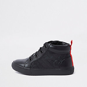 Boys black RI monogram high top sneakers