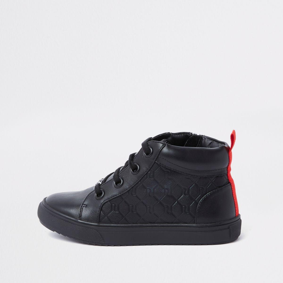 Boys black RI monogram high top trainers