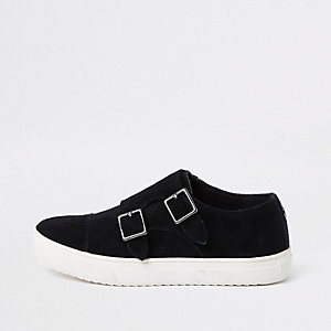 Boys black suede buckle slip on plimsolls