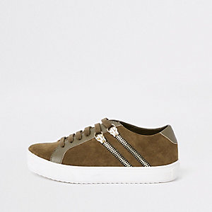 Boys khaki lace-up double zip sneakers