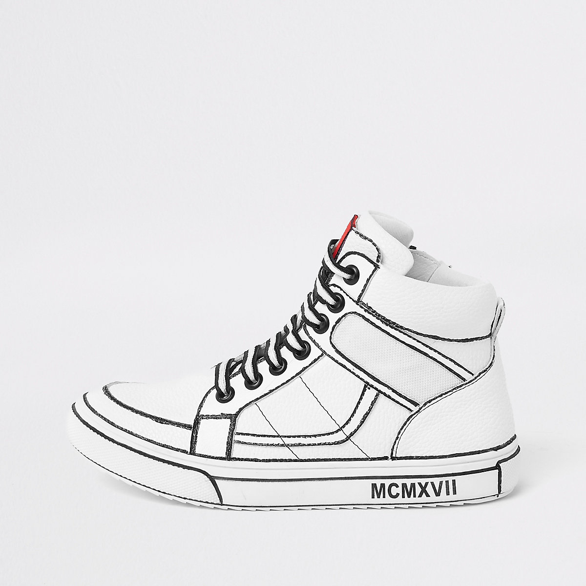 Boys white drawn-on high top trainers