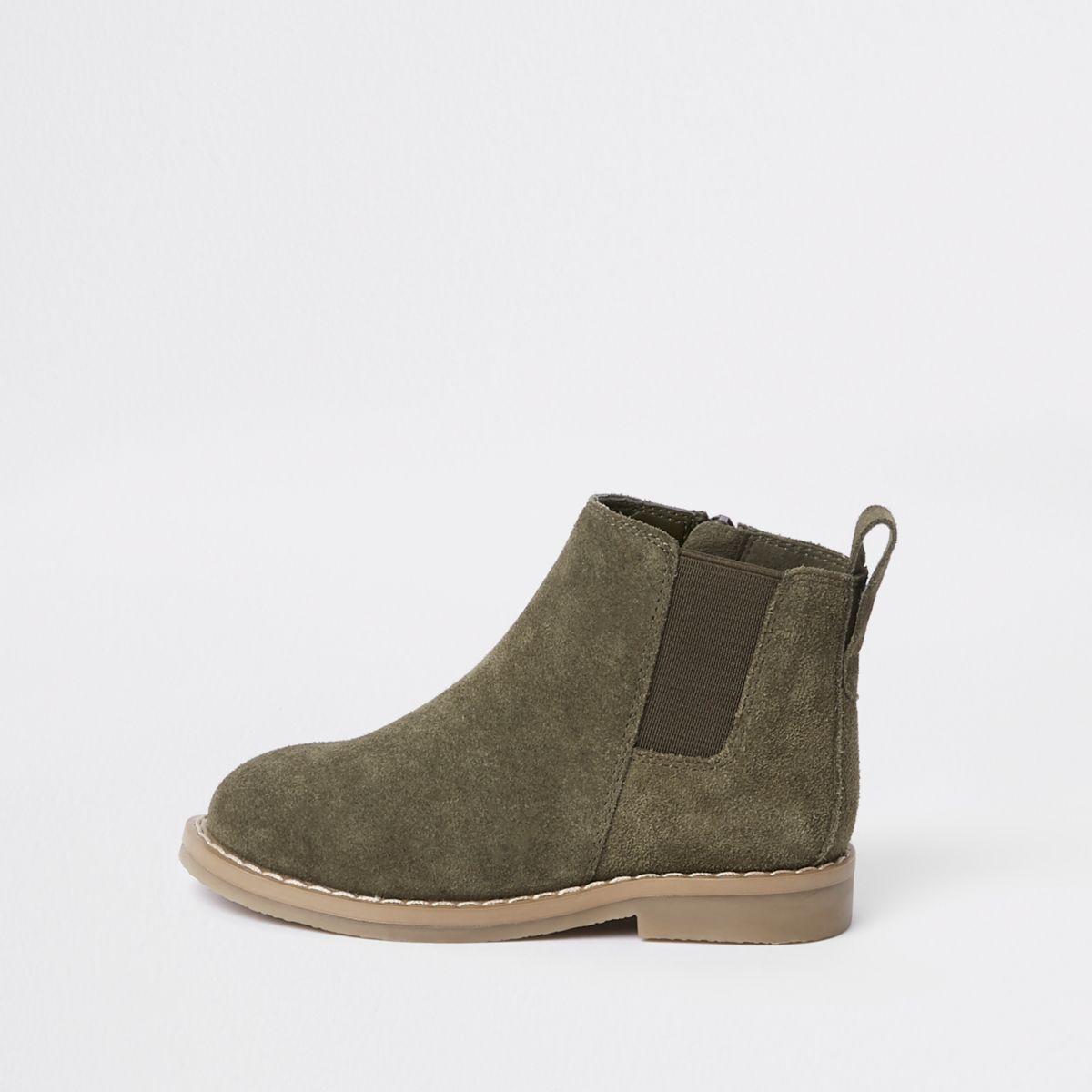 Mini boys khaki suede chelsea boots