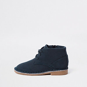 Mini boys navy faux suede desert boots
