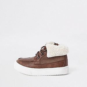 Mini - Bruine laarzen met borg voor jongens