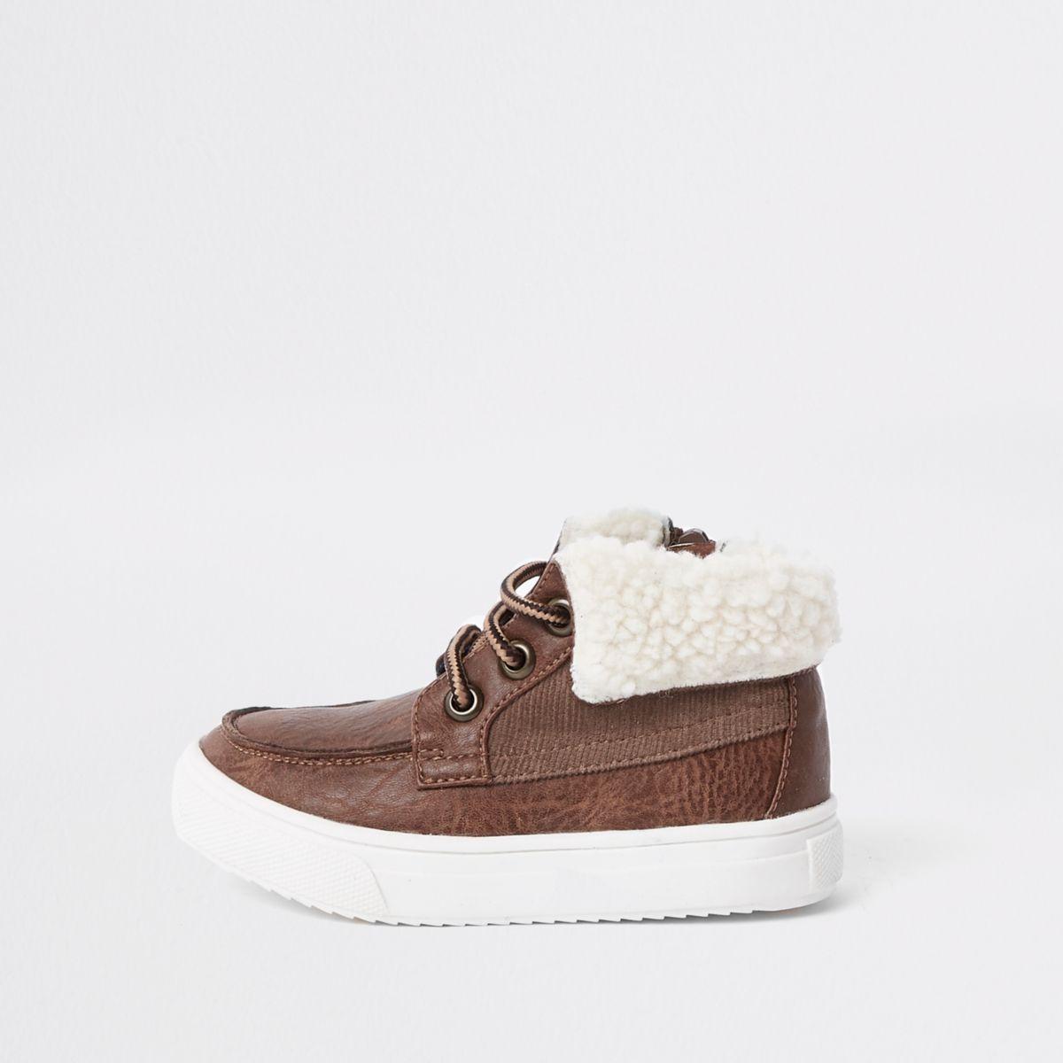 Mini boys brown borg trim boots
