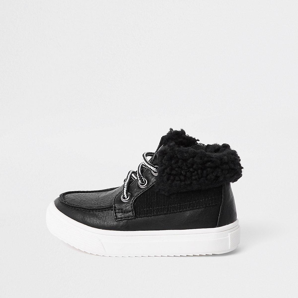 Mini boys black borg trim boots