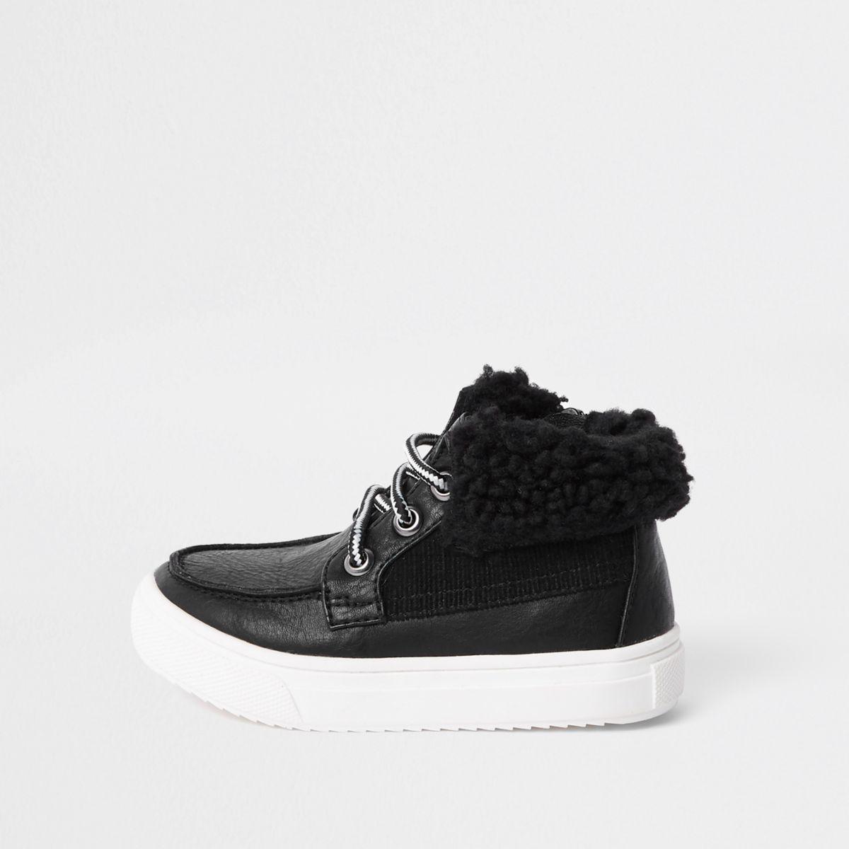 Mini boys black fleece trim boots