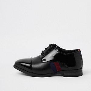 Chaussures noires vernies à bandes latérales mini garçon