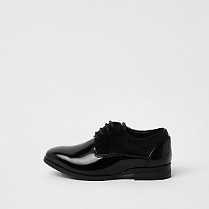 Mini boys black patent lace-up shoes