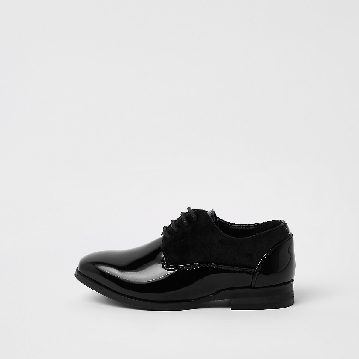 Mini boys black patent lace-up shoes