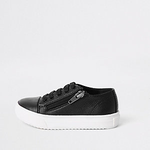 Mini boys black zip side lace-up sneakers
