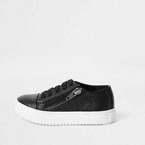 Mini - Zwarte vetersneakers met rits opzij voor jongens