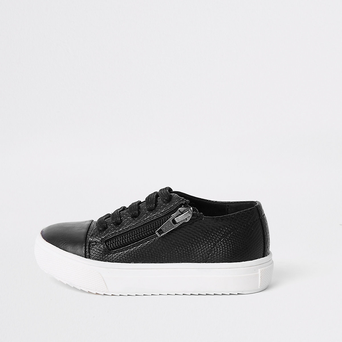 Mini boys black zip side lace-up trainers