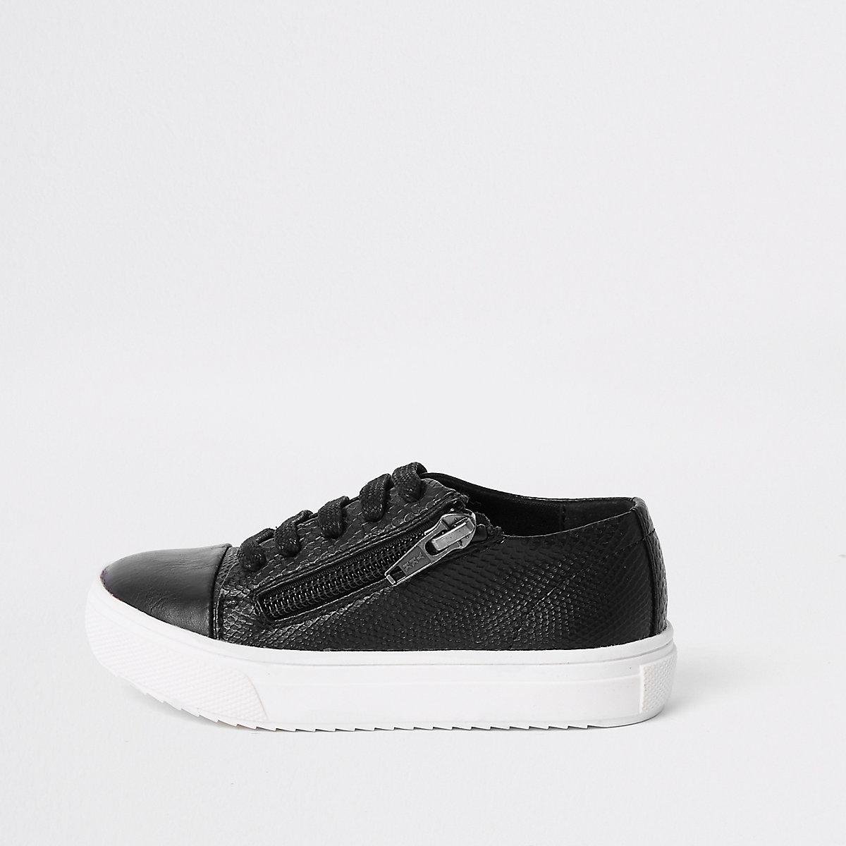 Mini boys black zip side lace-up sneakers