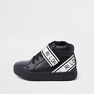 Mini - Zwarte hoge sneakers met 'RI-LDN'-print voor jongens