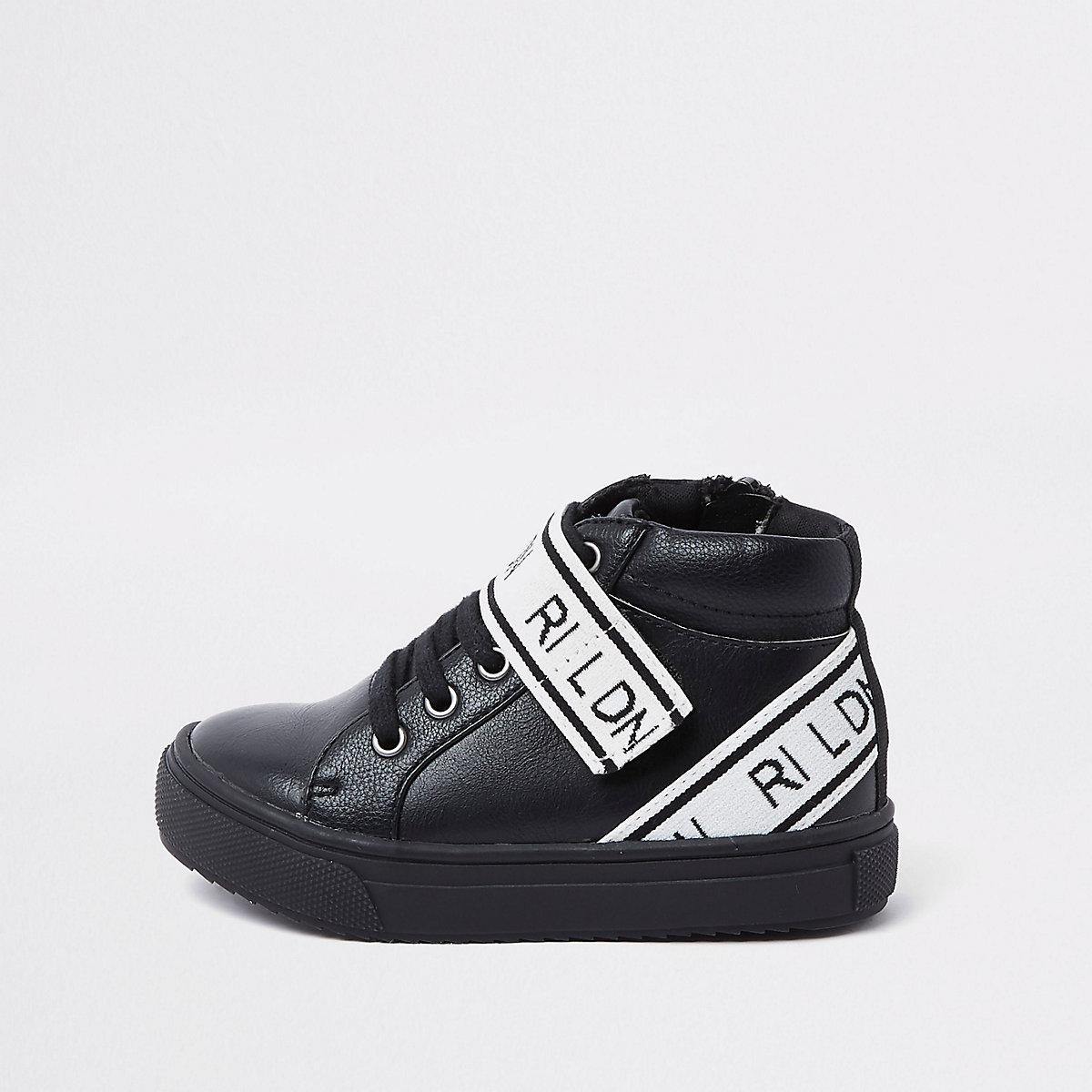 Mini boys black 'RI LDN' high top trainers