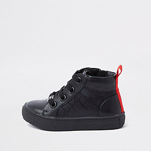 Mini boys black RI monogram high top trainers