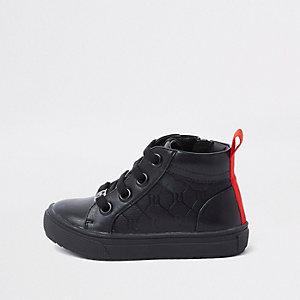 Mini - Zwarte hoge sneakers met RI-logo voor jongens
