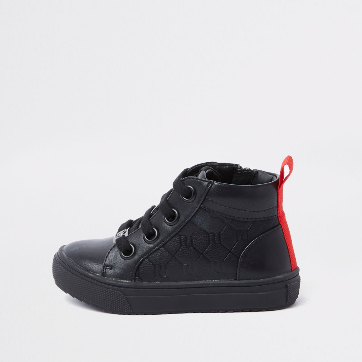 Mini boys black RI monogram high top trainers