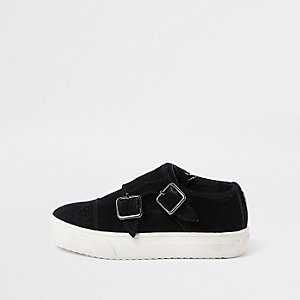 Mini boys black suede buckle slip on plimsoll