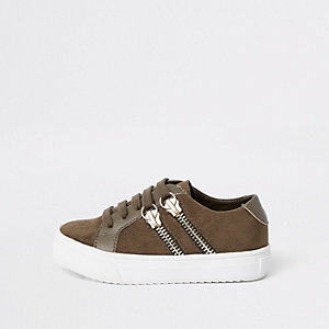 Mini boys khaki lace-up double zip trainers