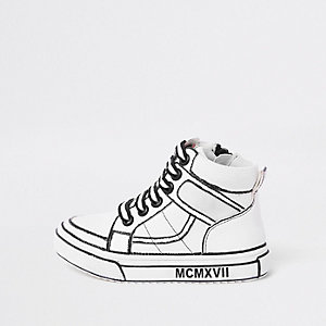Mini boys white drawn-on high top sneakers